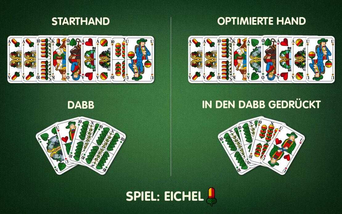 Binokel: Beispiel - Handkarten mit dem Dabb verbessern