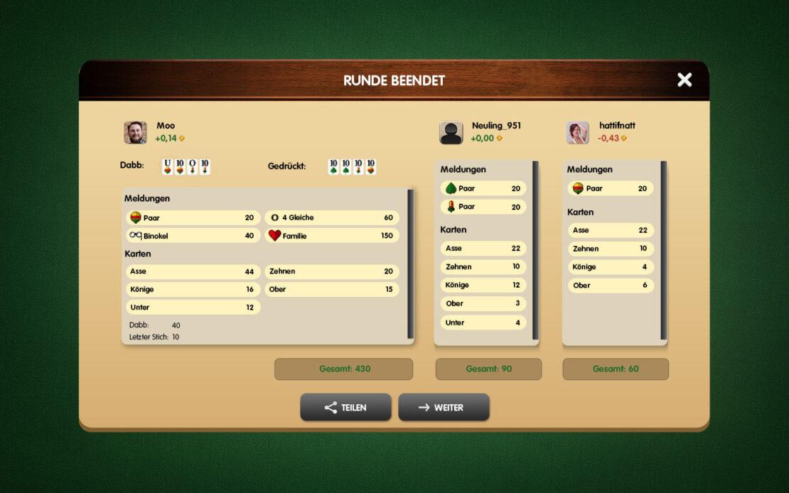 Binokel-Anzeige - Gewinn 3 Spieler