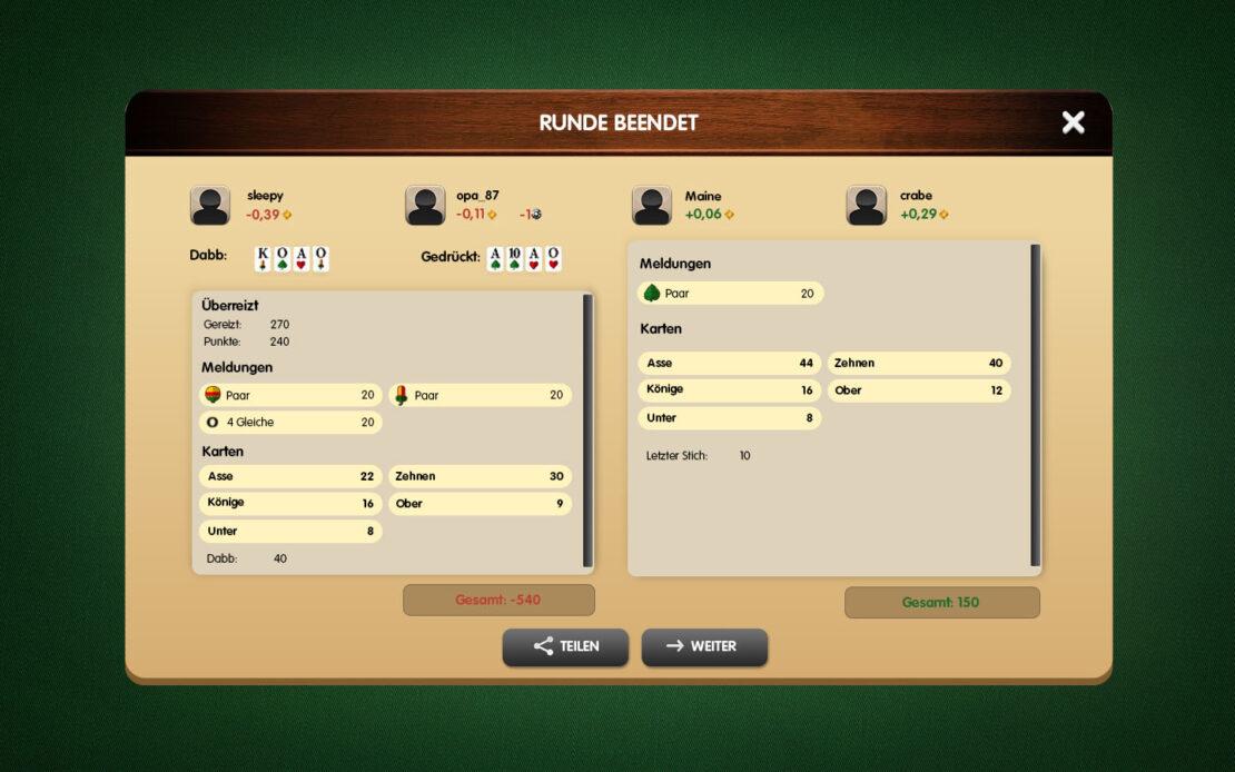 Binokel-Anzeige - Niederlage 4 Spieler