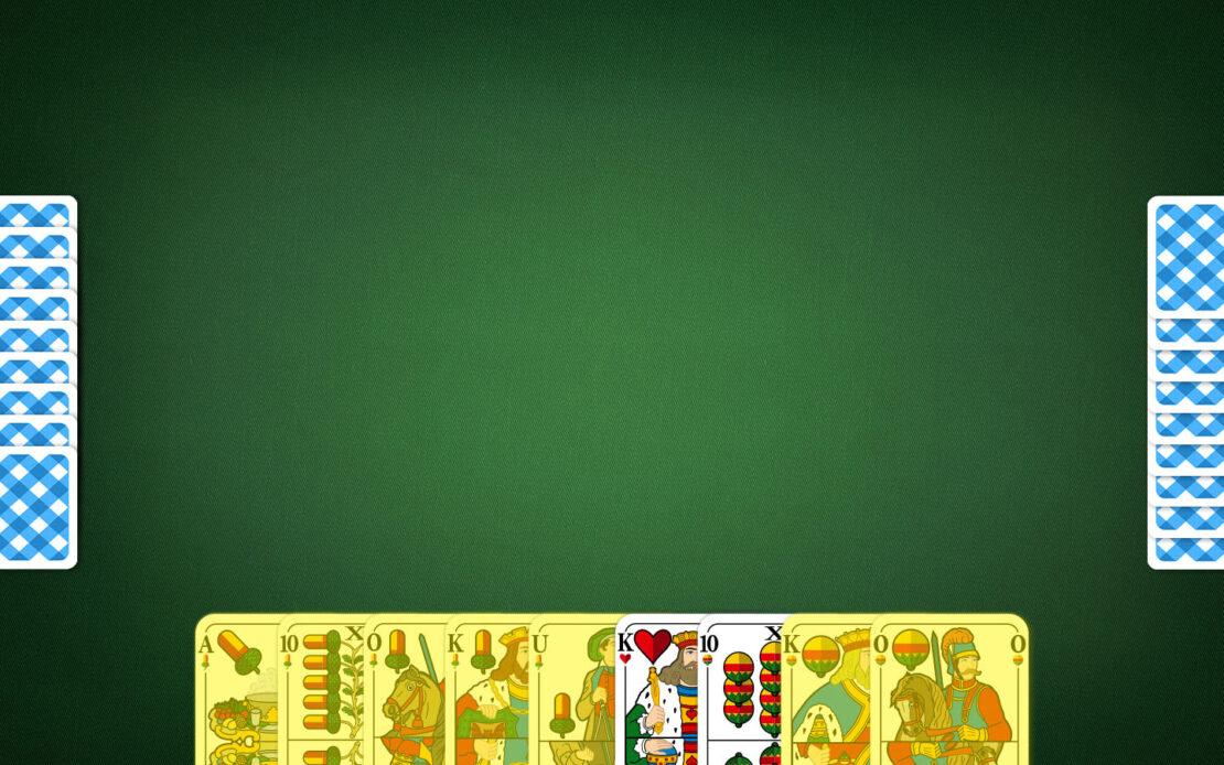 Binokel-Spielfeld - Meldungen in Handkarten