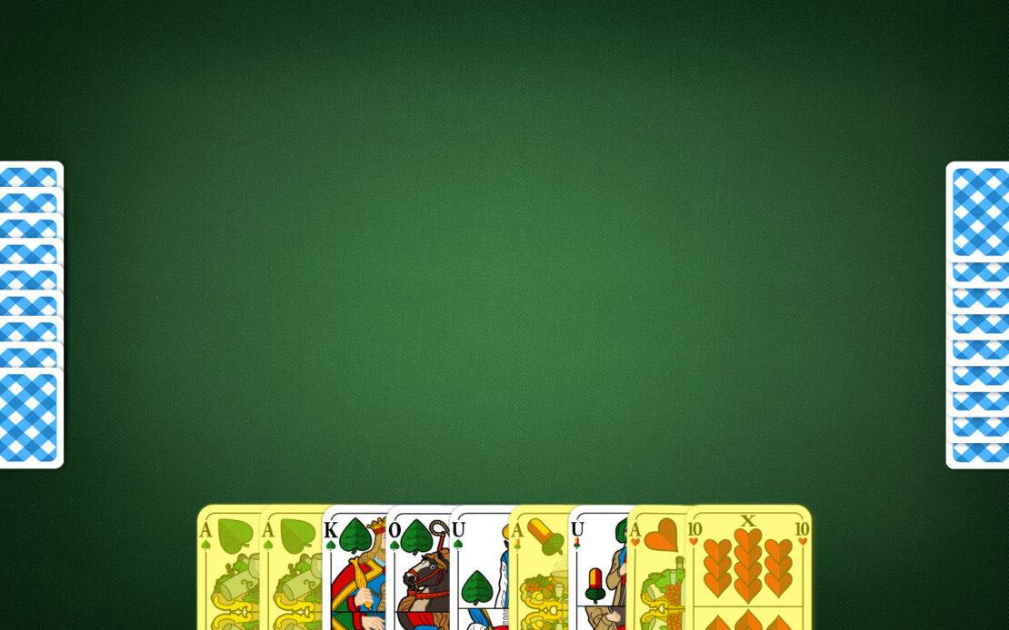 Binokel-Spielfeld - hohe Handkarten