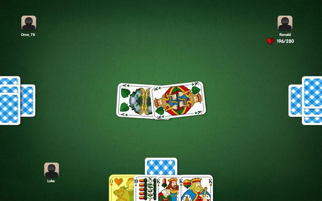 Binokel-Spielfeld - Beispiel Trumpfzwang