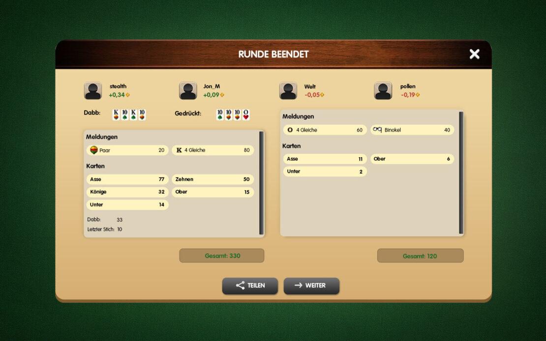 Binokel-Anzeige - Gewinn 4 Spieler