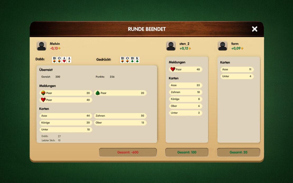 Binokel-Anzeige - Niederlage 3 Spieler