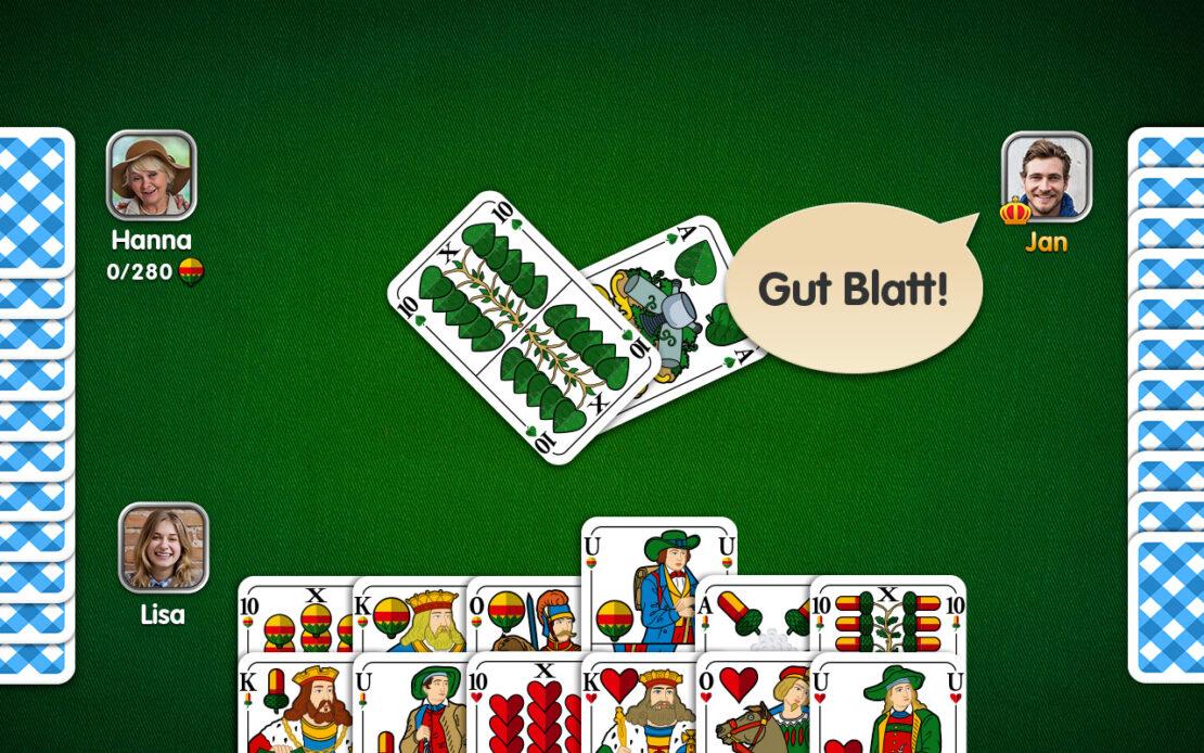 Binokel-Spielfeld drei Spieler