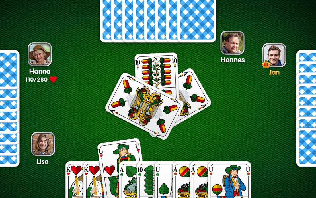 Binokel-Spielfeld vier Spieler Kreuzbinokel