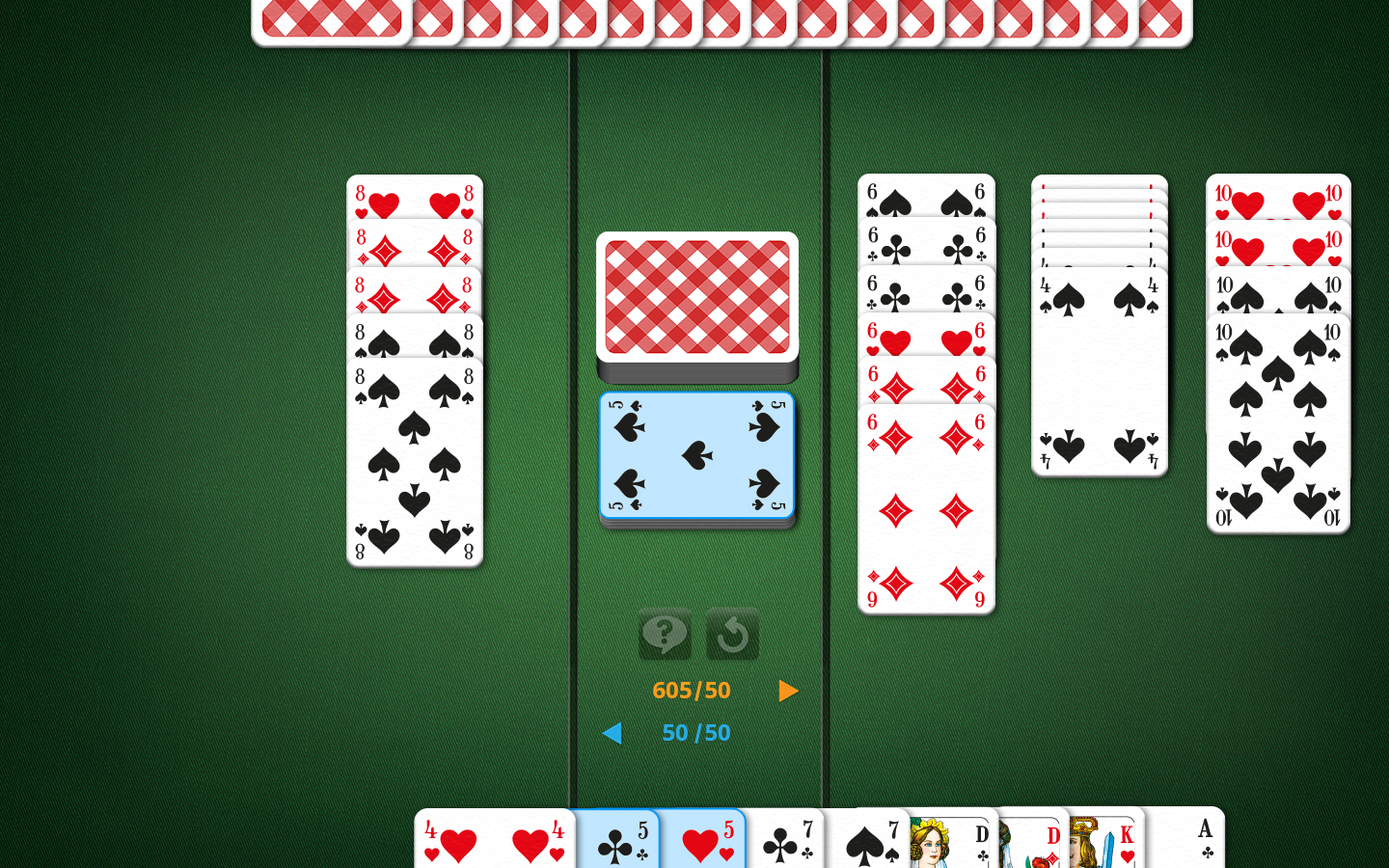 Canasta Playing Field: Picking up the Discard Pile Is an Option.