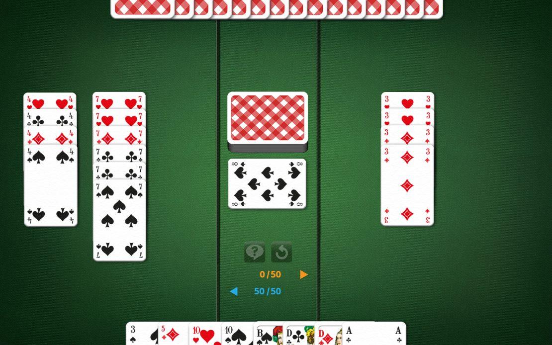 Canasta-Spielfeld: 4 rote Dreien beim Gegner