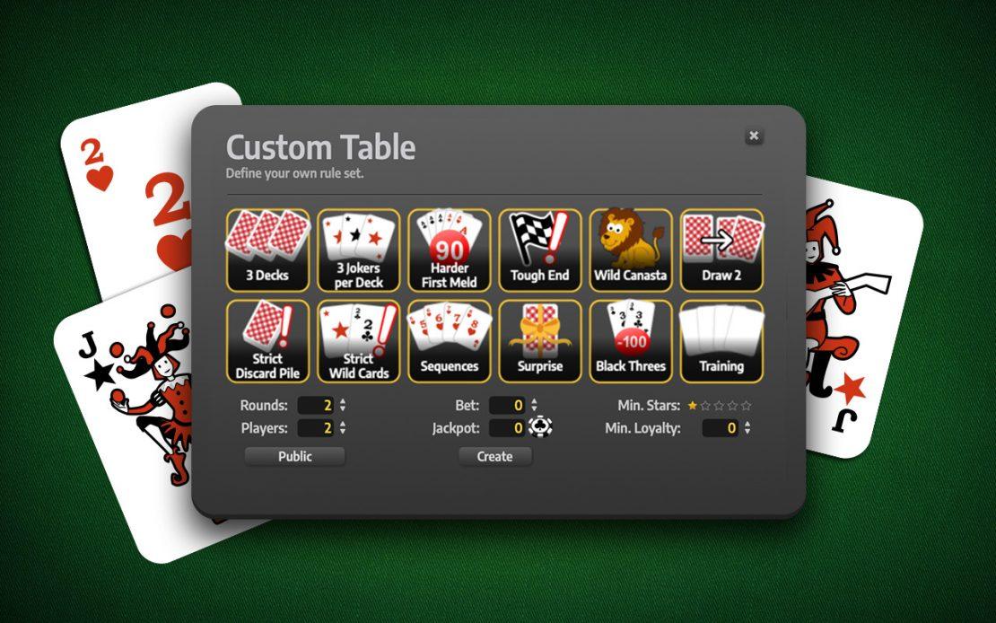 Game Menu: Canasta Custom Rules