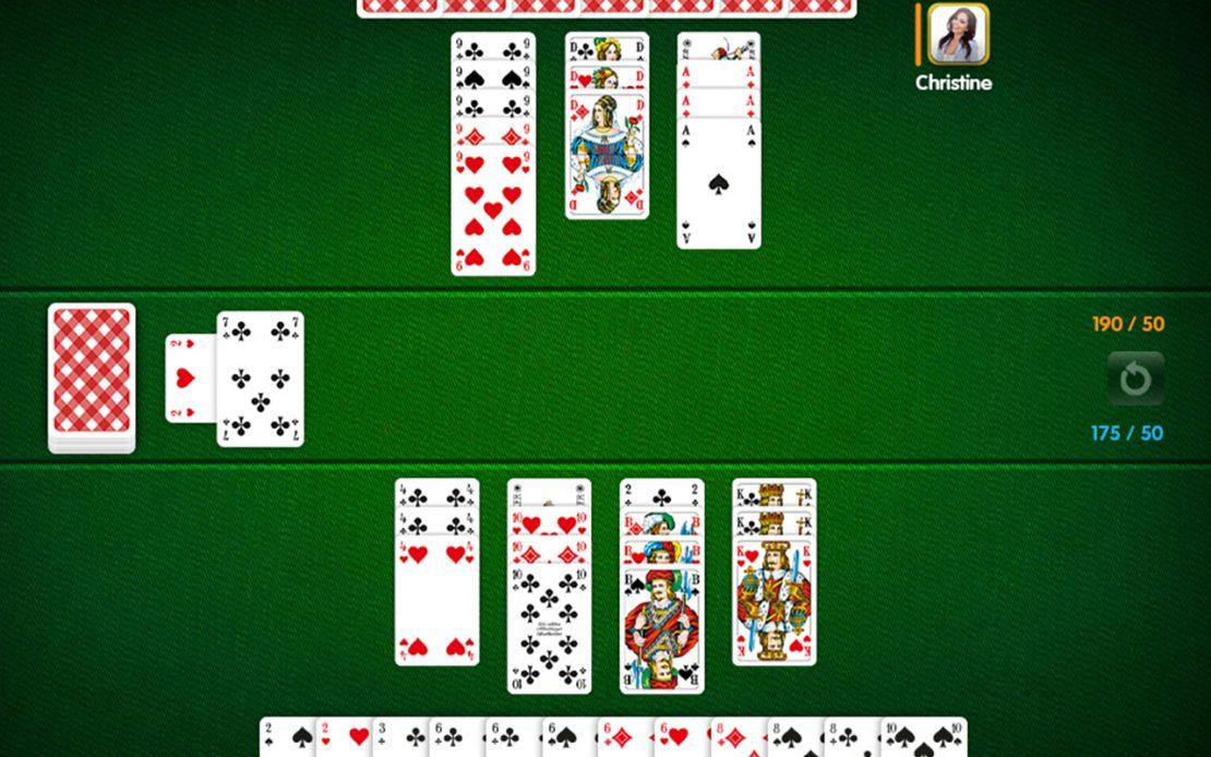 Canasta-Spielfeld: 2 Spieler