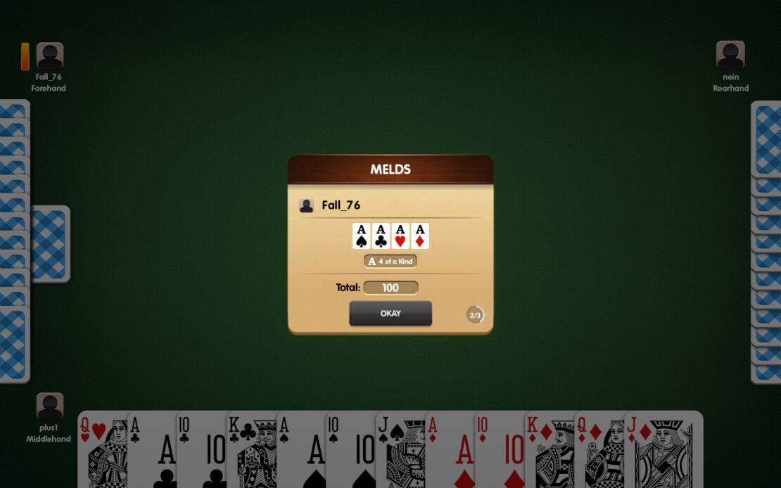 Pinochle Display: Fellow Player Melding