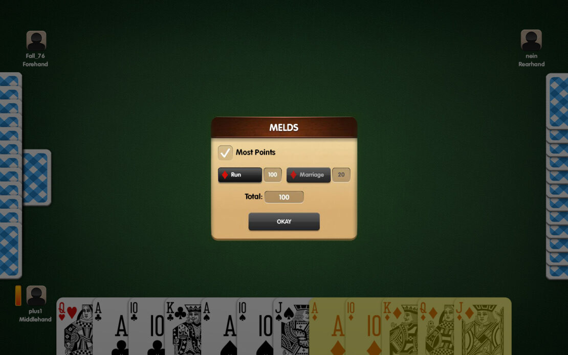 Pinochle Display: Your Available Melds