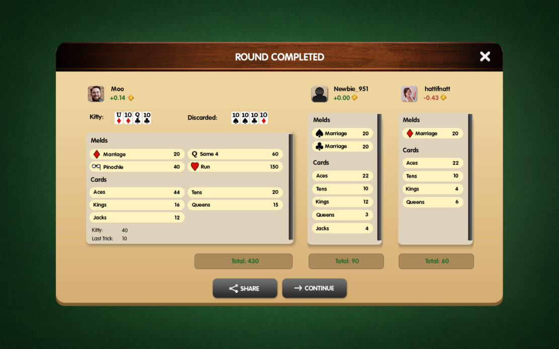 Pinochle Display - Success With Three Players