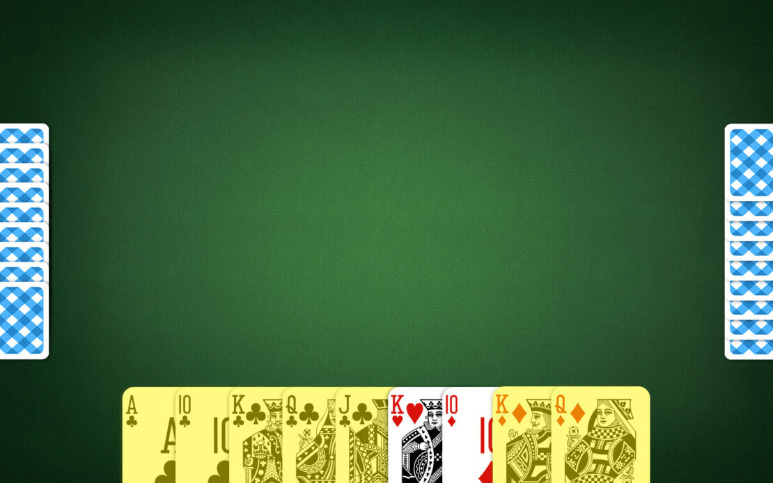 Pinochle Playing Field - Melds in Hand Cards