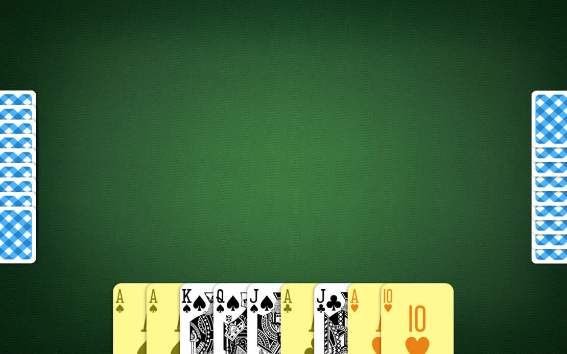 Pinochle Playing Field - Srong Hand Cards