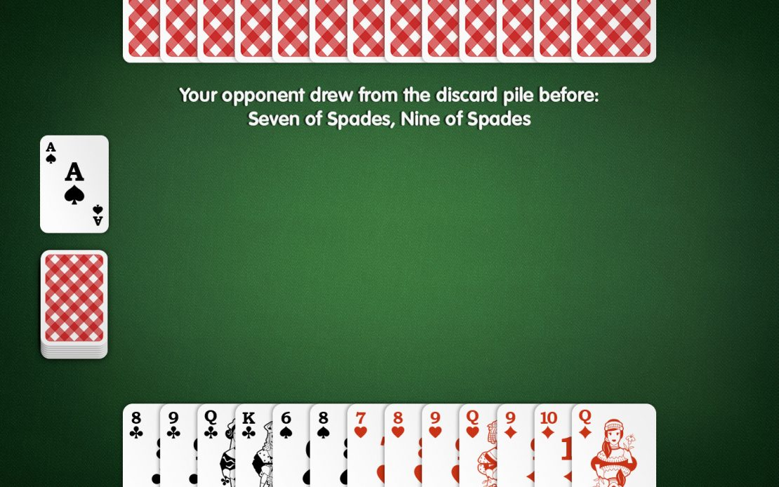 Rummy Playing Field: Two Players - Which Card to Discard?
