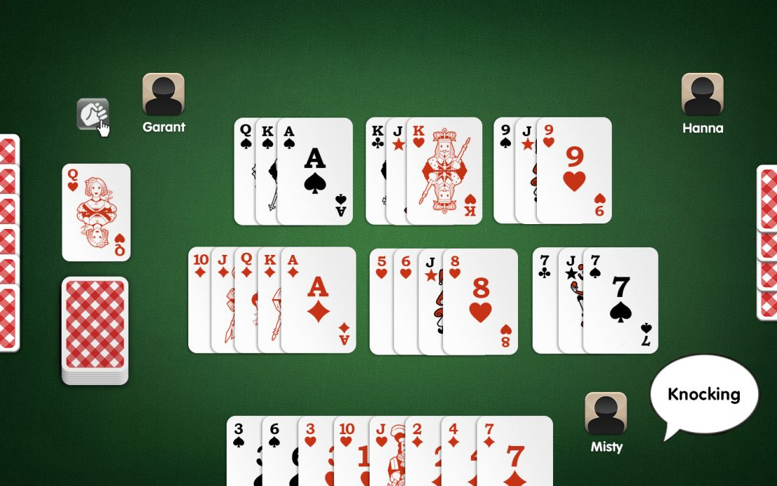 Rummy Playing Field: Three Players - Knocking