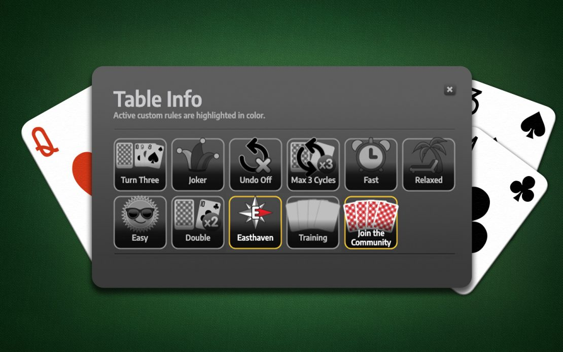 Solitaire Table Info: Custom Rules Easthaven