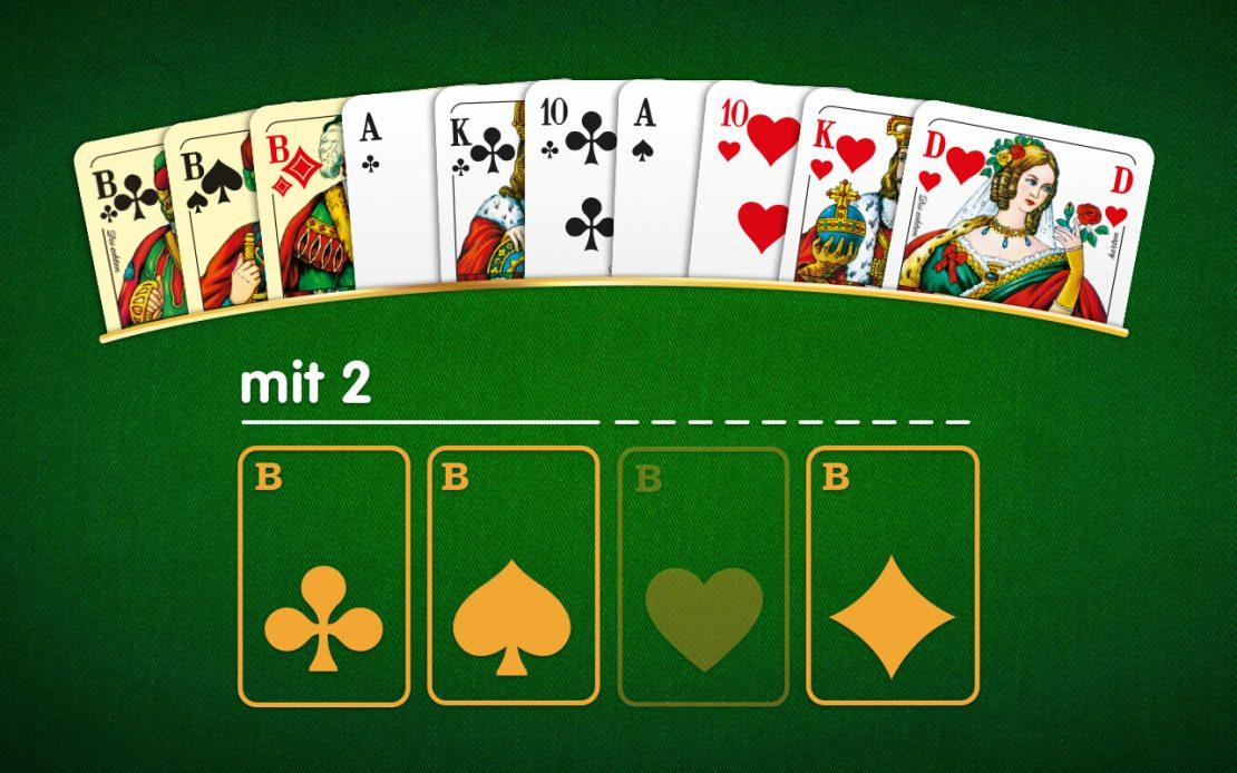 Skat-Beispiel: Blatt mit zwei