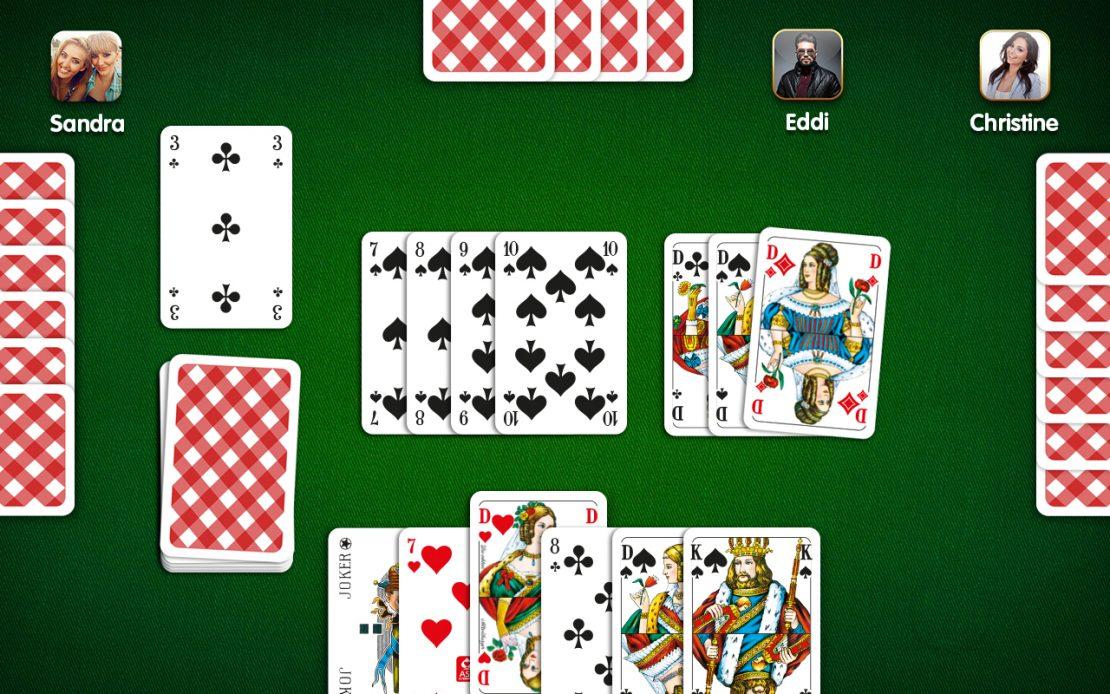 Rommé-Spielfeld - vier Spieler