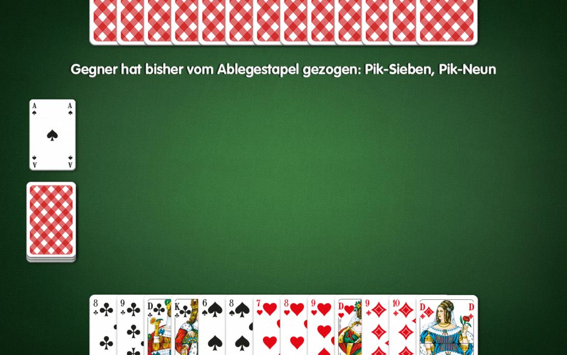 Rommé-Spielfeld: Zwei Spieler - welche Karte abwerfen?