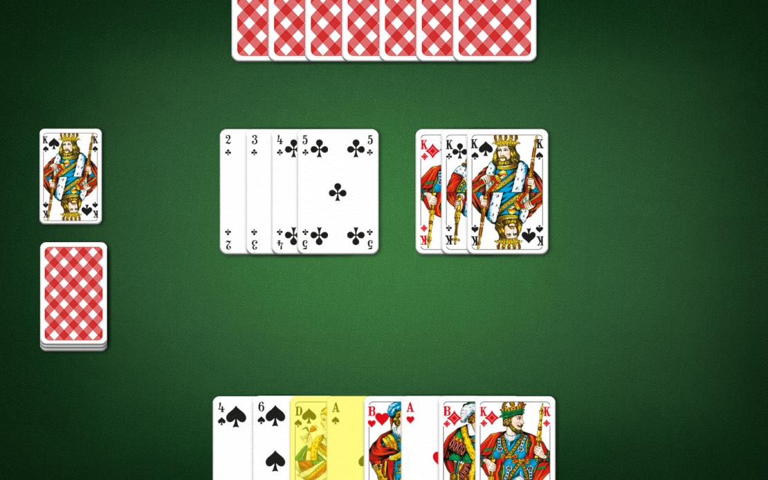 Rommé-Spielfeld: Zwei Spieler - welche Karte ziehen?