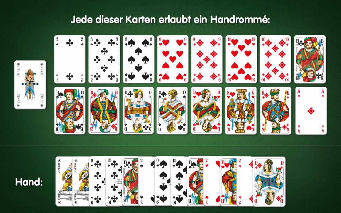 Rommé-Karten: viele Handrommé-Möglichkeiten