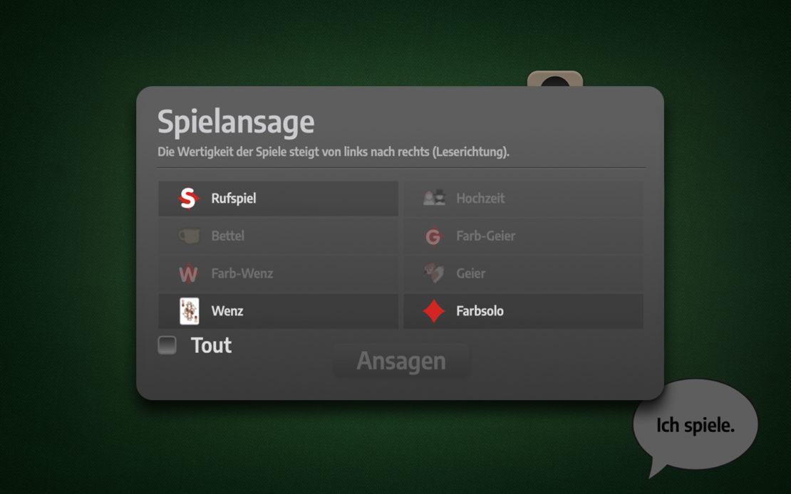 Schafkopf-Menü: Spielansage