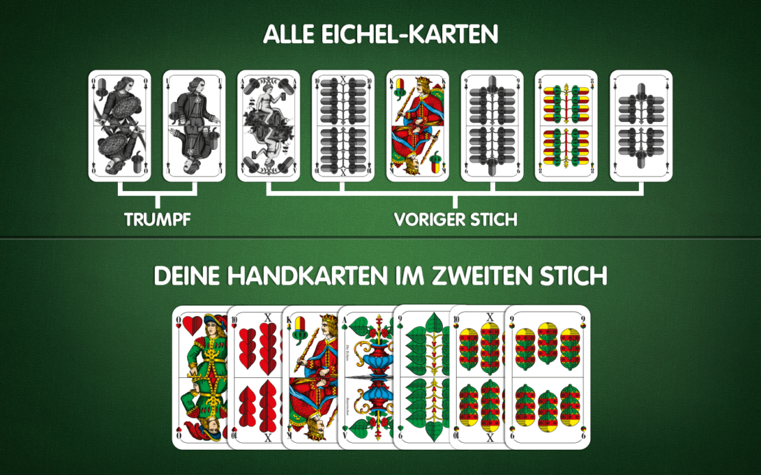 Beispiel Schafkopf-Hand und Eichel-Karten