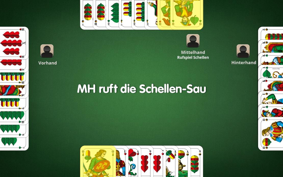 Schafkopf-Spielfeld: drei Laufende im Rufspiel