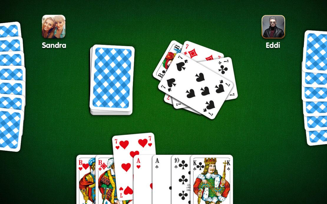 Mau-Mau-Spielfeld - drei Spieler